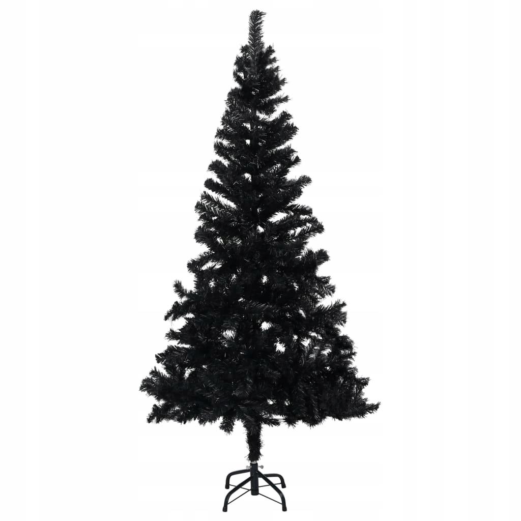 Umelý vianočný stromček so stojanom, čierny, 150 cm, PVC