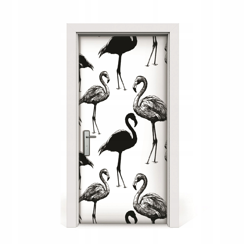 Nálepka na dyhové dvere Flamingos v retro štýle 95x205