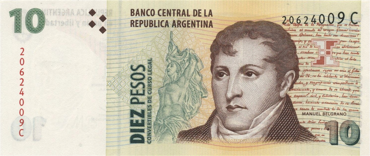 ARGENTYNA 10 Pesos 2000 P-348 SERIE C UNC