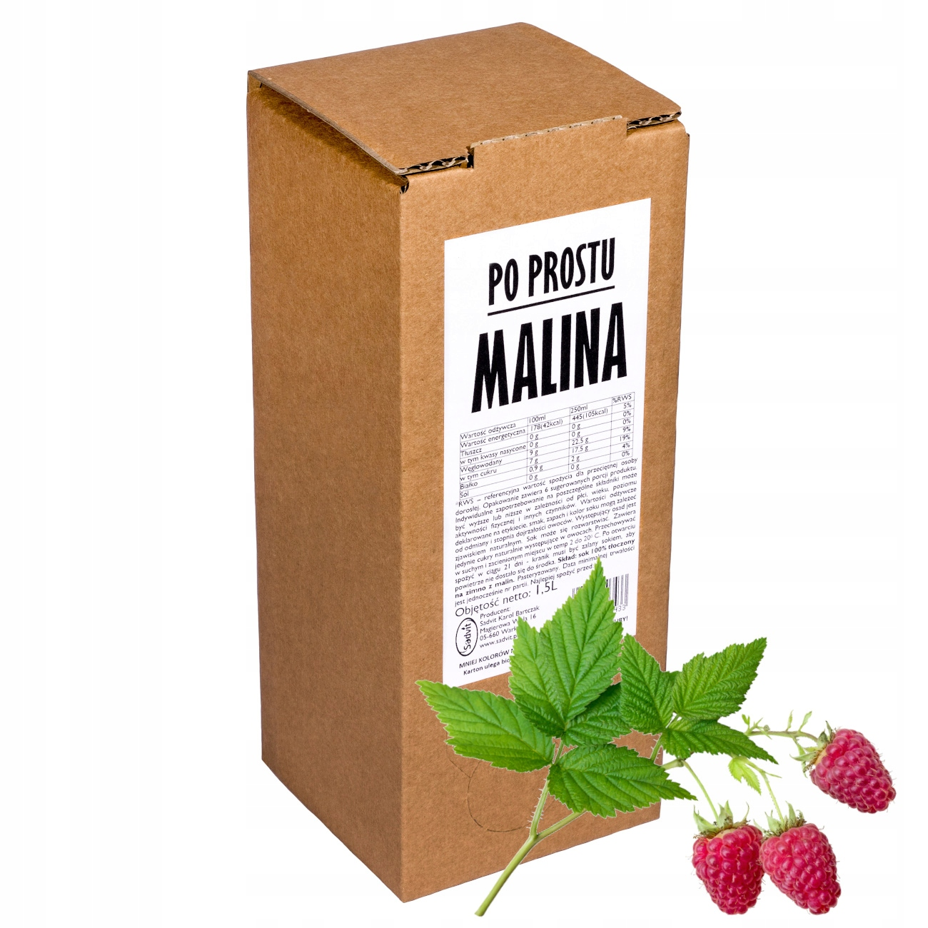 sok malina malinowy 100% sok z malin 1,5L
