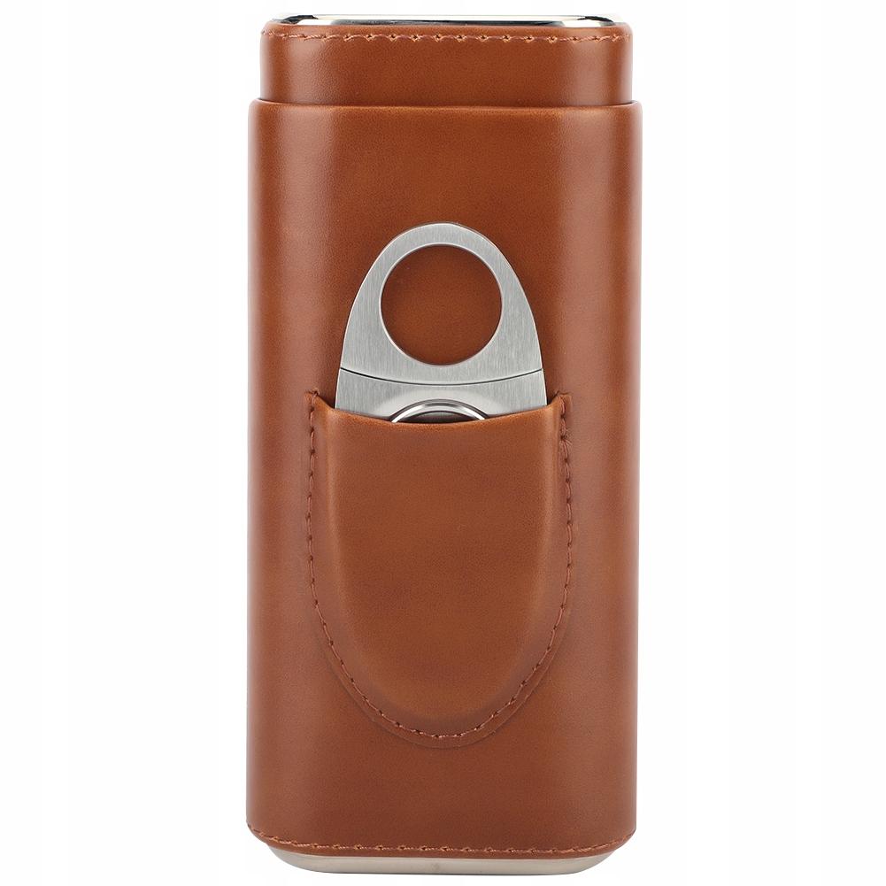 Футляр для 3 сигар кожаный коричневый с гильотина