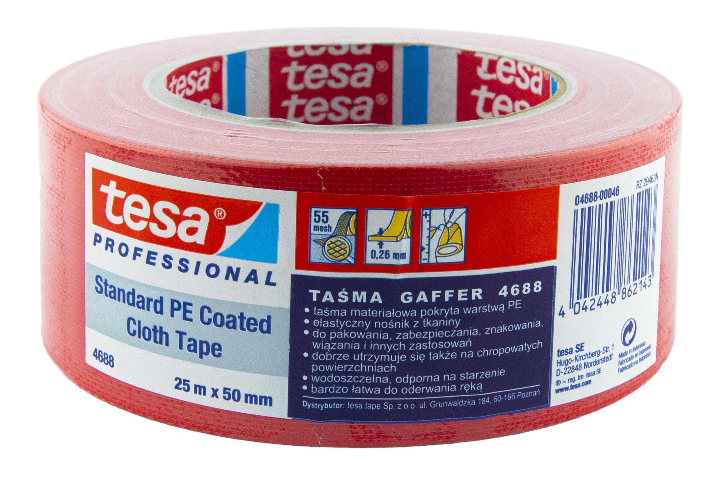 Лента ремонтная TESA 4688, малярная красная, 50х25