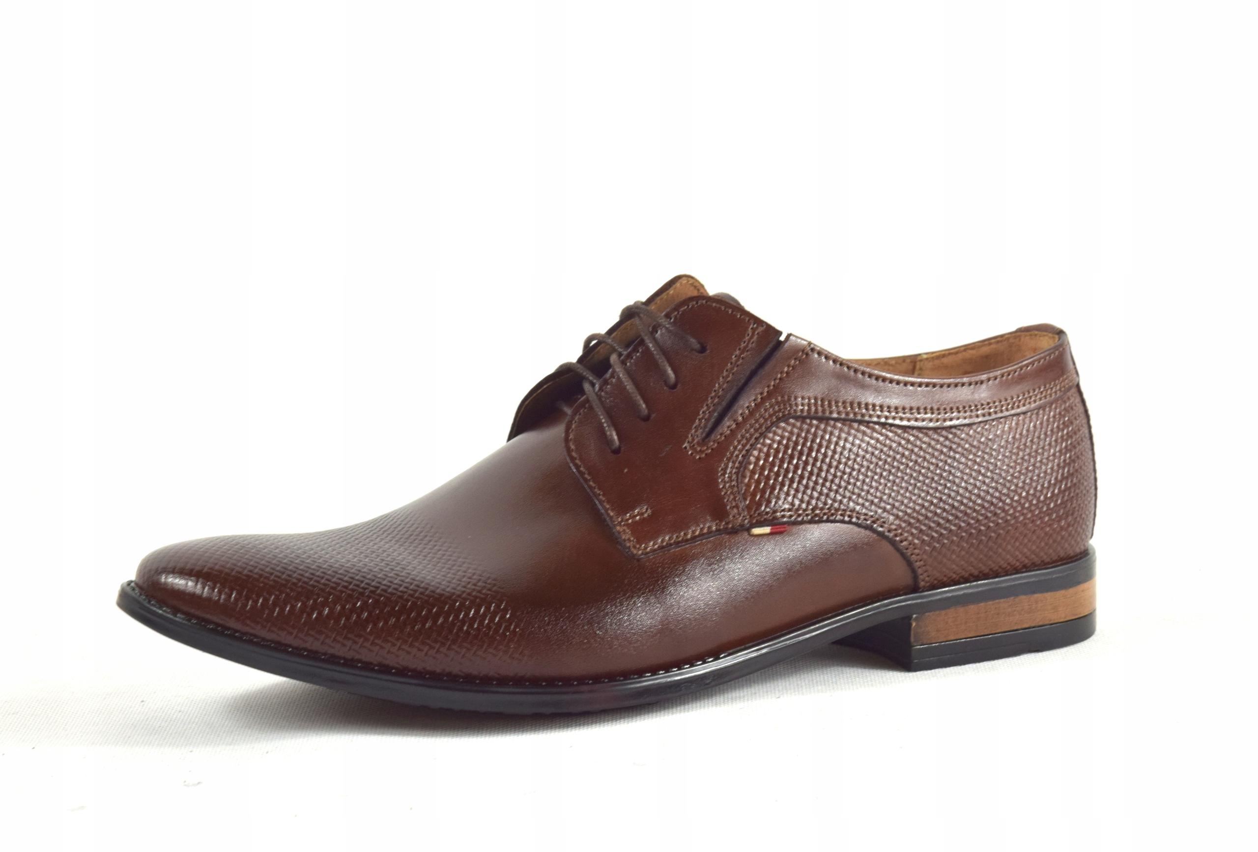 Buty męskie wizytowe skórzane brązowe obuwie 359/1