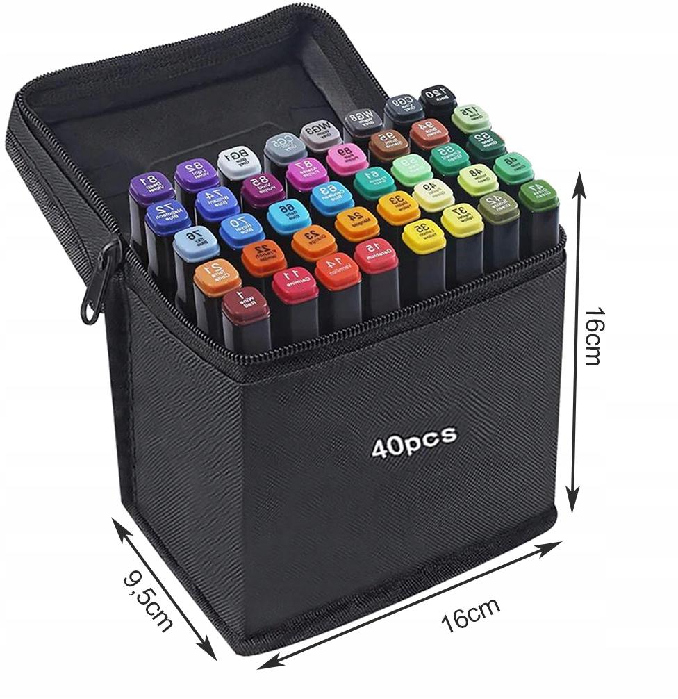 Markery Kolorowe Zakreślacze Pisaki Dwustronne x40 Kod producenta 14104