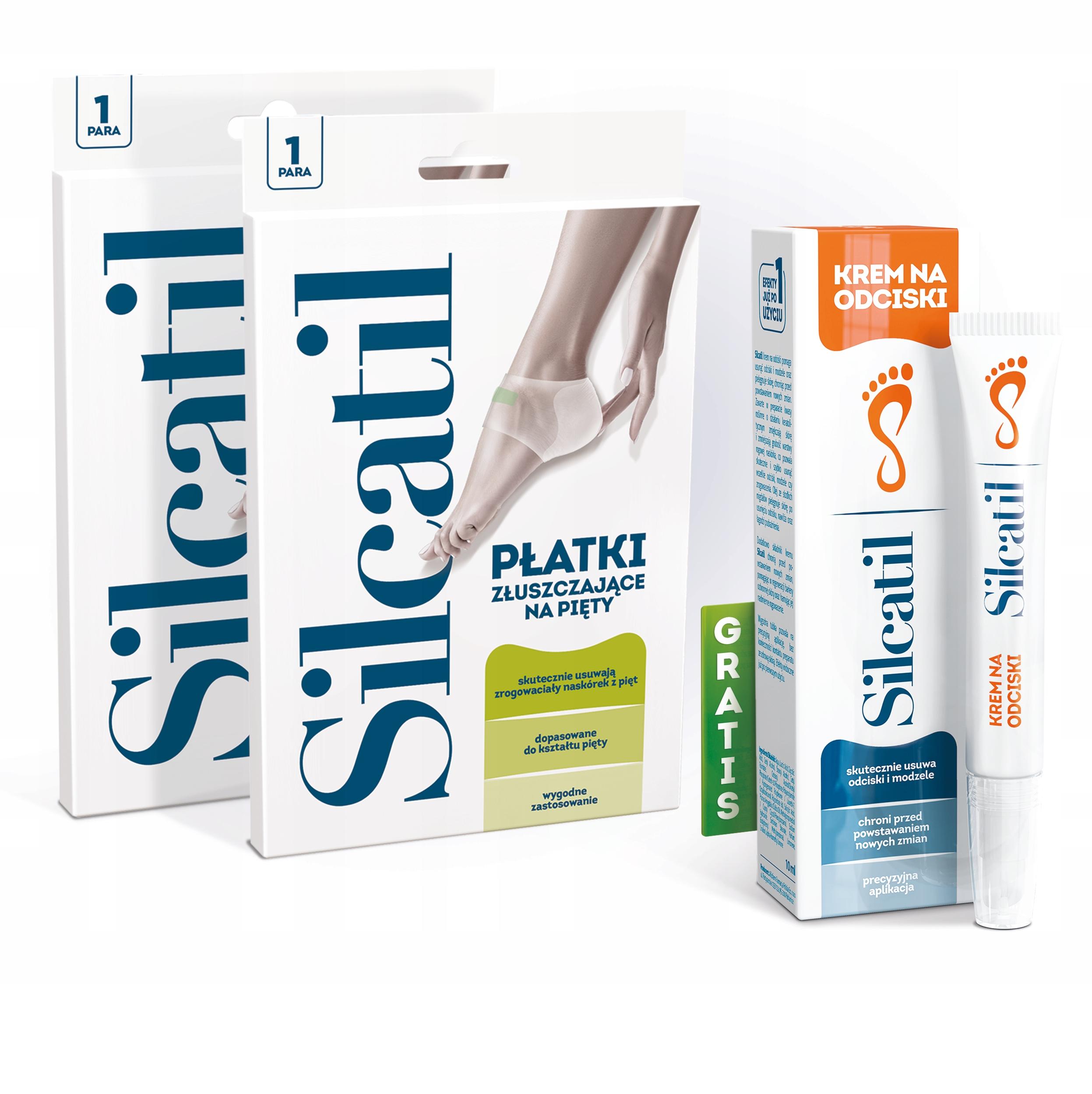 SILCATIL 2x Płatki Złuszczające Pięty + Krem 10 ml