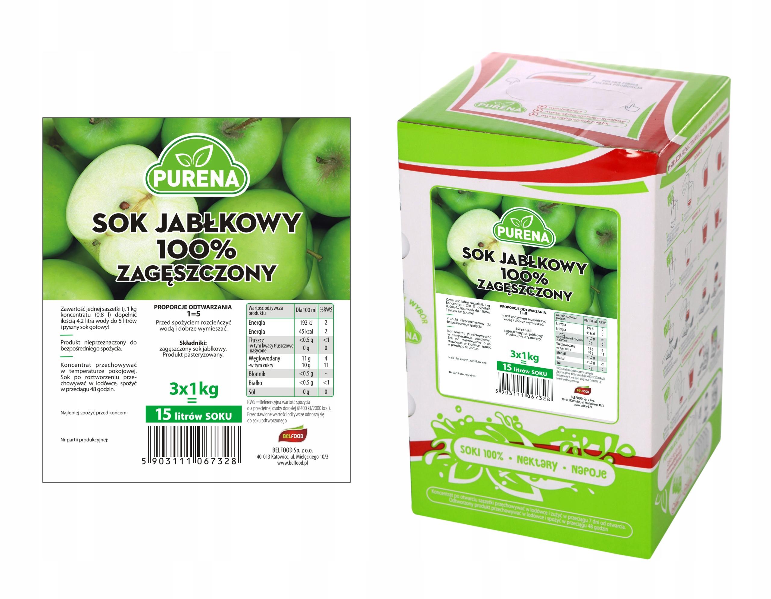 Сок яблочный 100% (концентрированный) PURENA 15л / 3кг