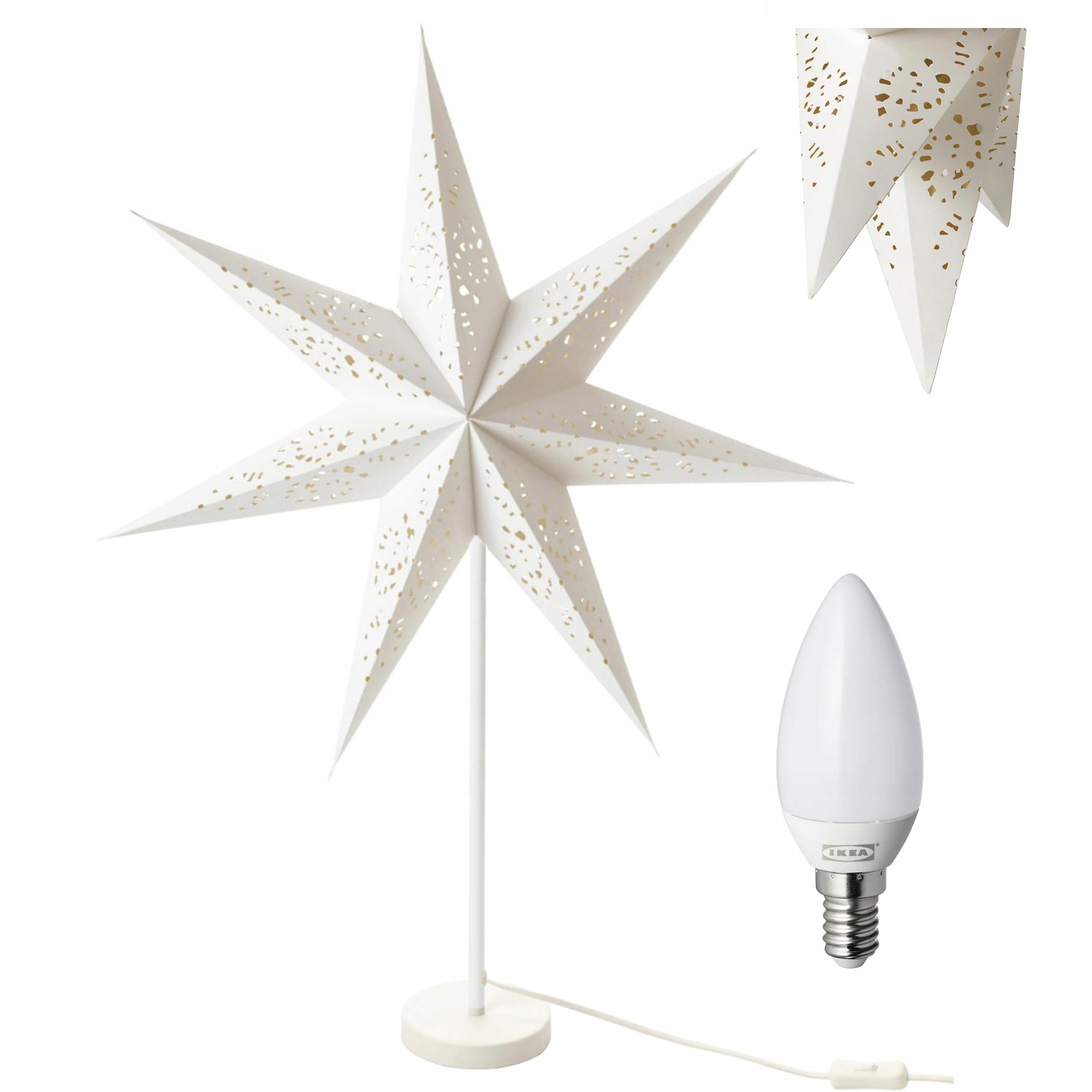 IKEA STRALA lampa stołowa gwiazda biały koronka CE