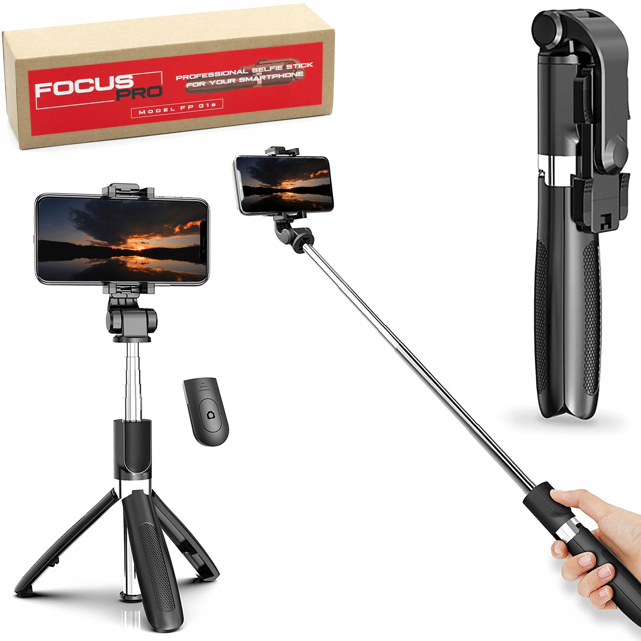 Focus Pro - Kijek Selfie Stick Tripod Statyw Pilot