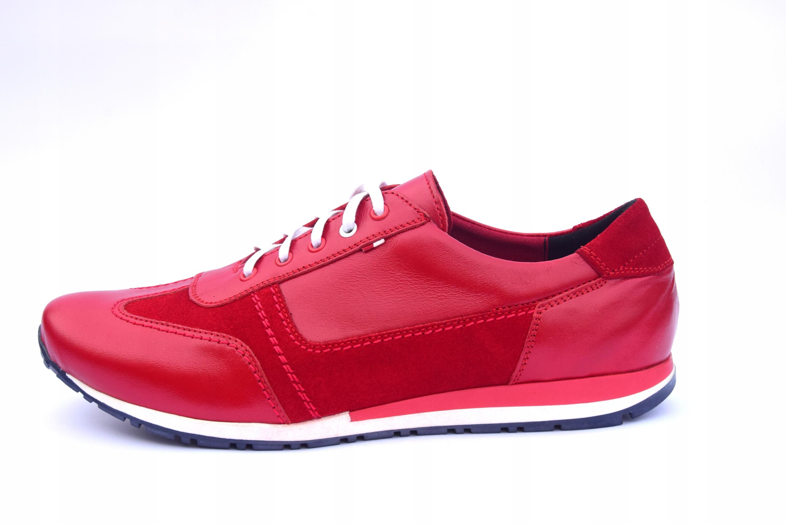 Buty skórzane czerwone obuwie ze skóry PL 294 Oryginalne opakowanie producenta pudełko