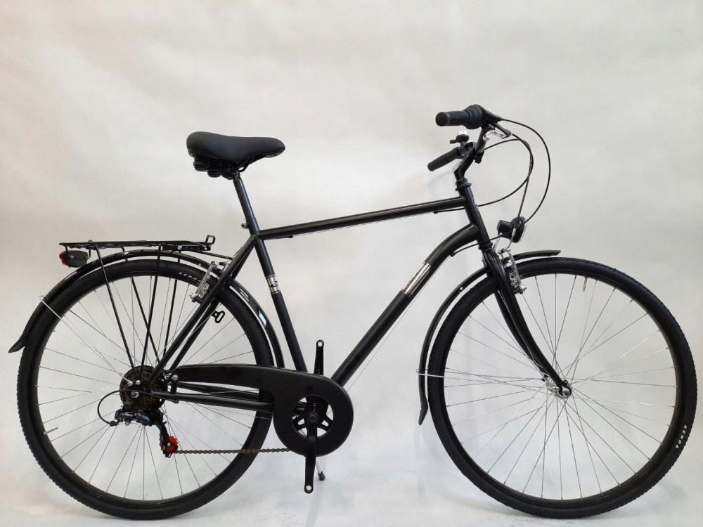 Pánsky mestský bicykel 28 Alpina 6 rýchlostí, ľahké doplnky, stojan, blatníky, zvonček, osvetlenie, noha, chránič reťaze