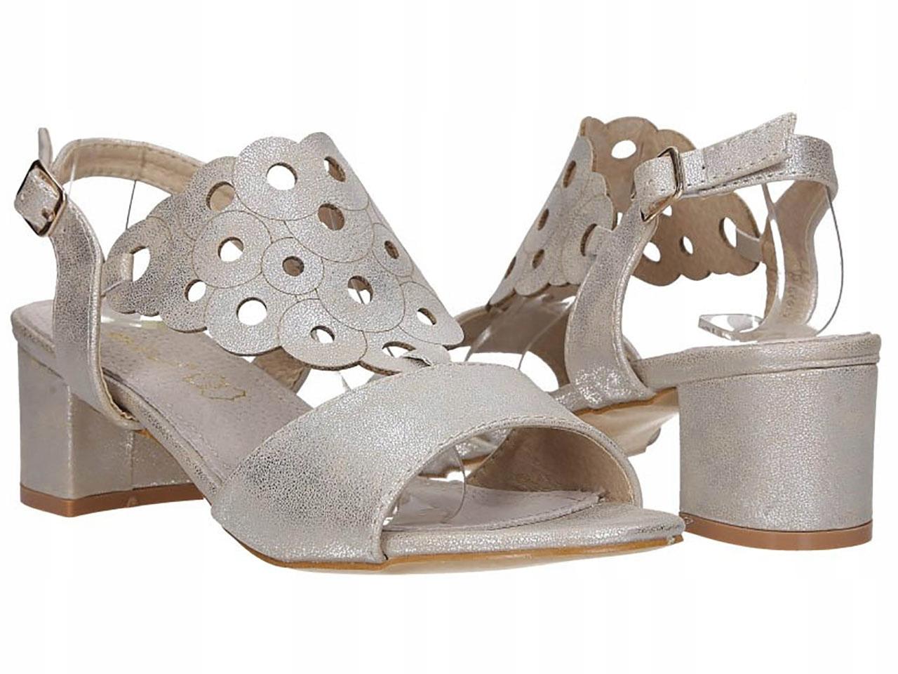 Ażurowe Sandały Na Słupku Niski Obcas Eleganckie