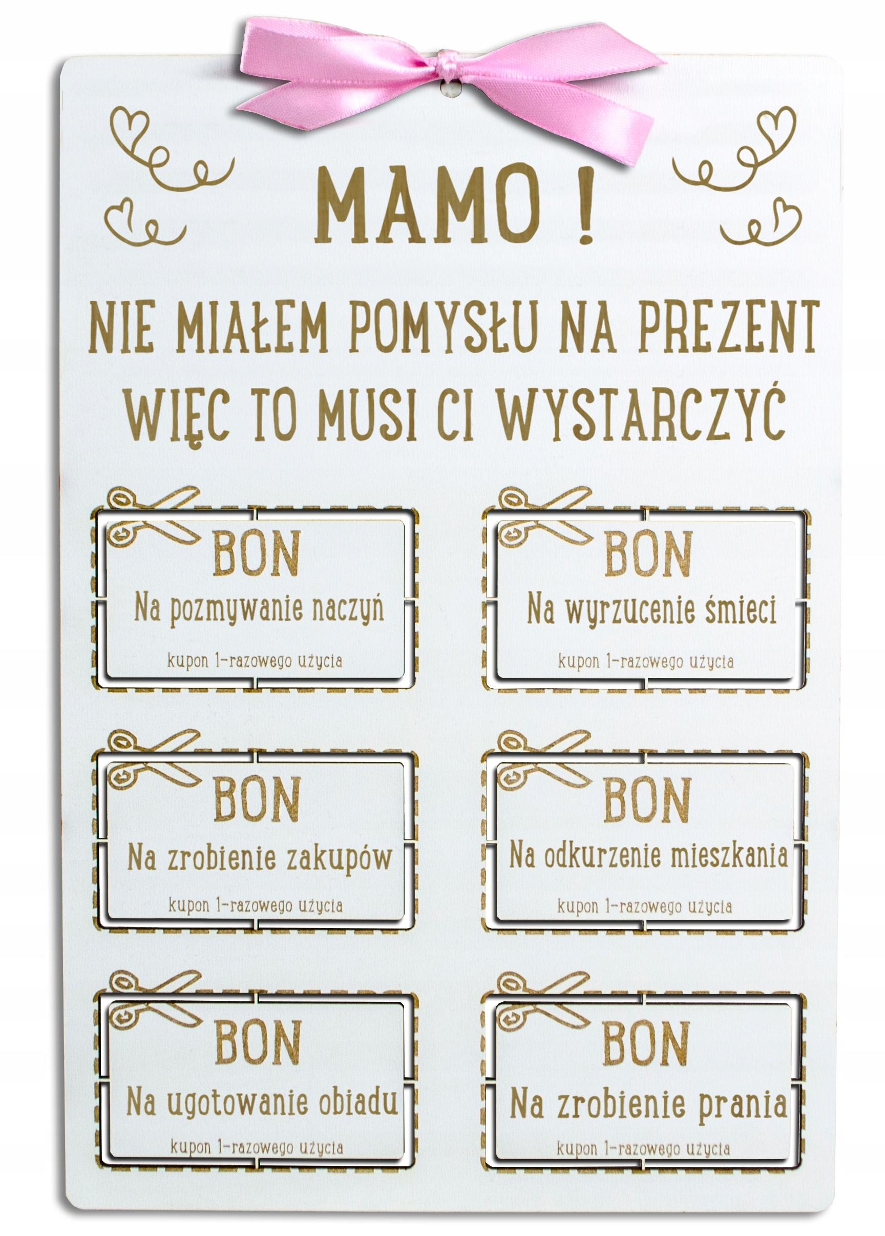 Bon Na Dzien Matki Oryginalny Prezent Dla Mamy 9211151797 Allegro Pl