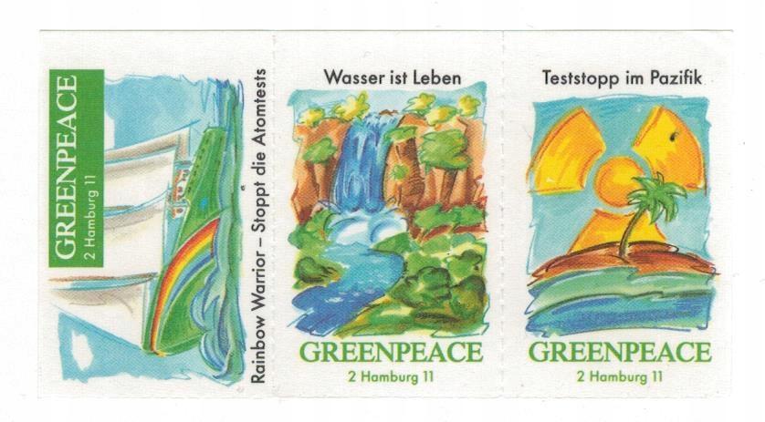 Greenpeace 1995 Znaczki ** ekologia atom testy