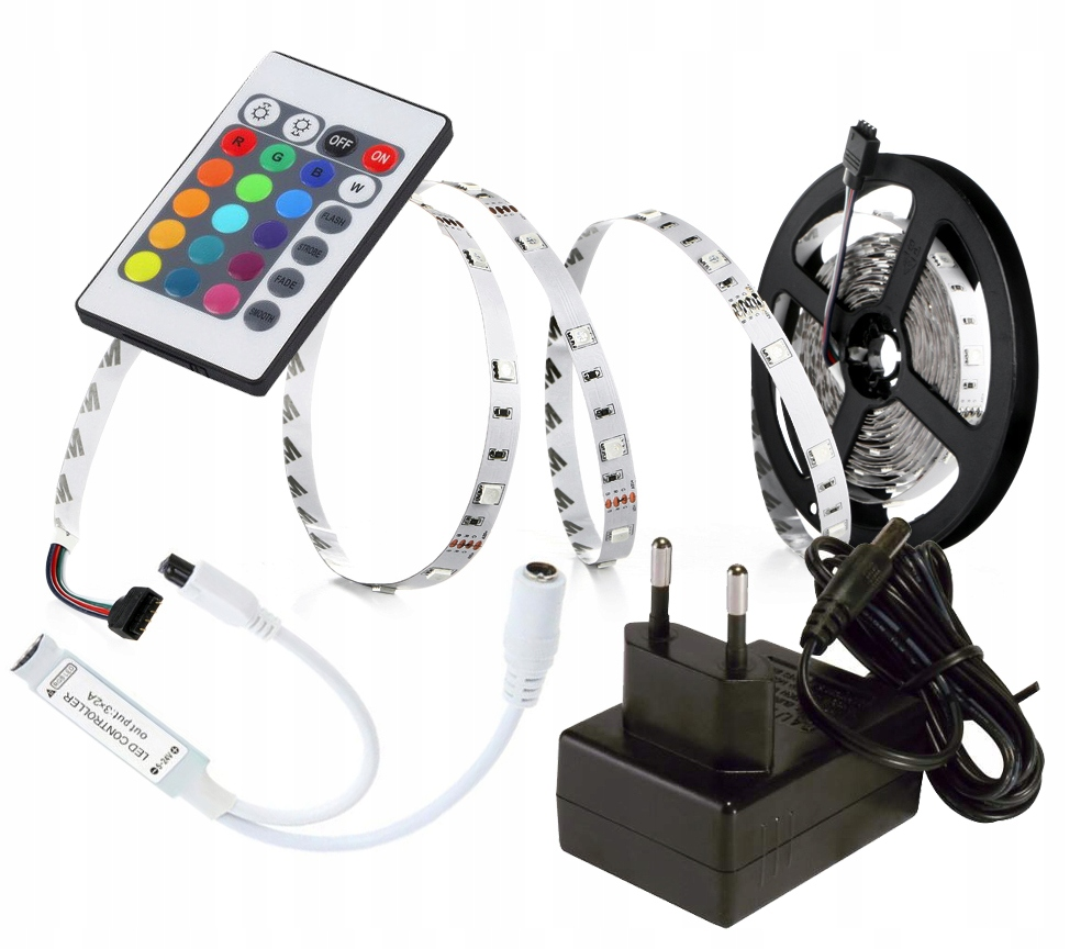 LED pásková metóda 150 RGB 2.5M + regulátor napájania