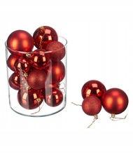 Červená vianočná guľa, 60 ks, plastová trubička