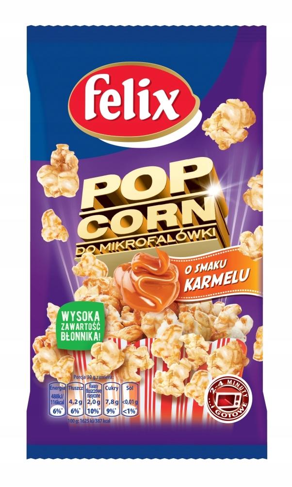 FELIX popcorn karmelowy do mikrofali 90g KARMELOWY