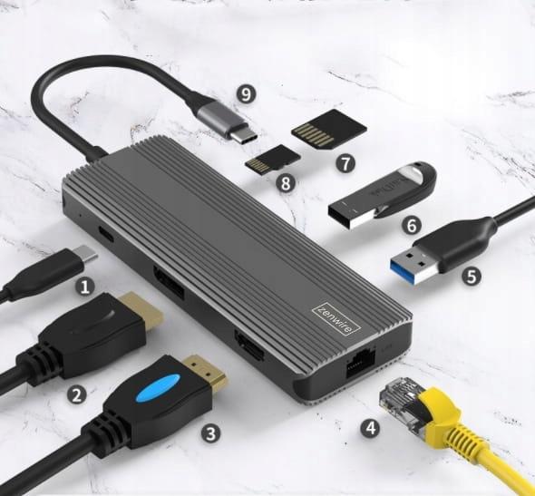 ADAPTER HUB 8w1 USB-C HDMI Display Port 4K 144 HZ EAN 0650414286189