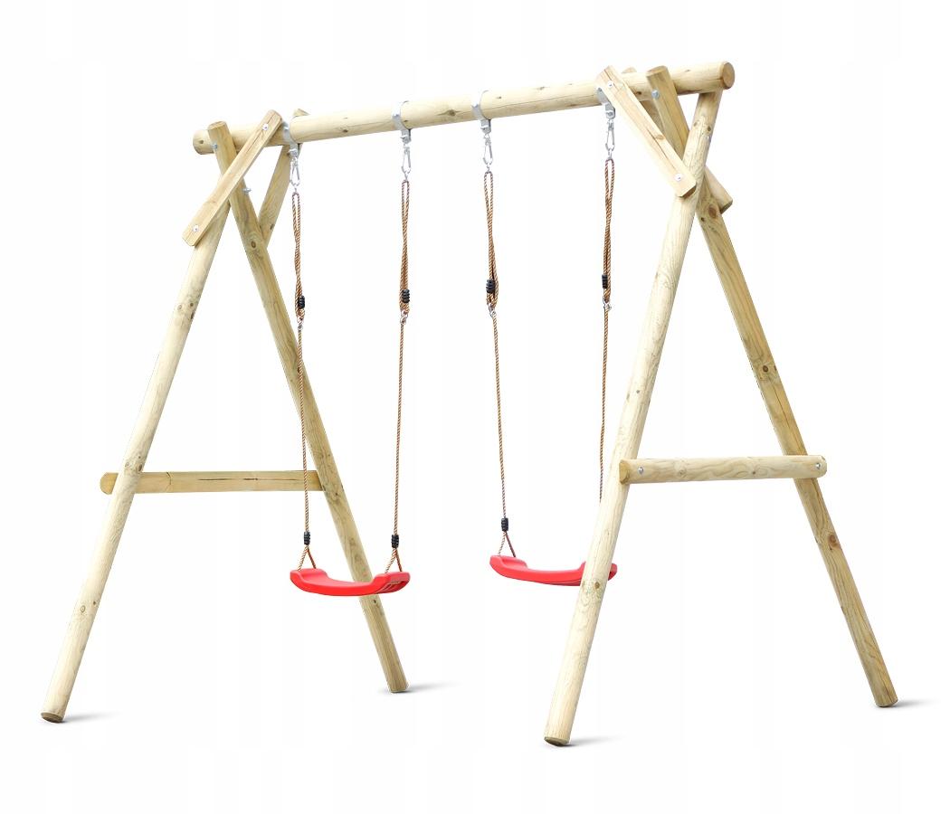 Klára drevená hojdačka s dvoma sedadlami