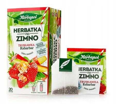 Herbata na zimno Herbapol Truskawka Rabarbar 80szt