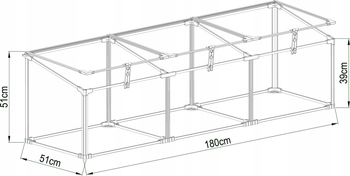 Záhradný skleník z polykarbonátu - 180x51x51 - box široký 1,8 m