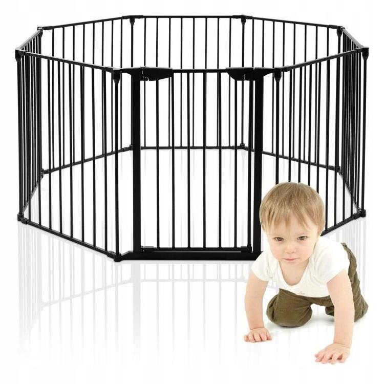 Манеж переносной 8-ми панельный GATE CHILDREN BLACK