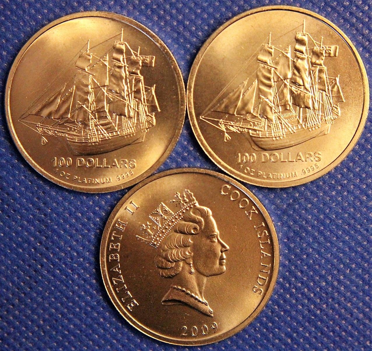 Cookove ostrovy, 100 dolárov 2009 - platinová unca