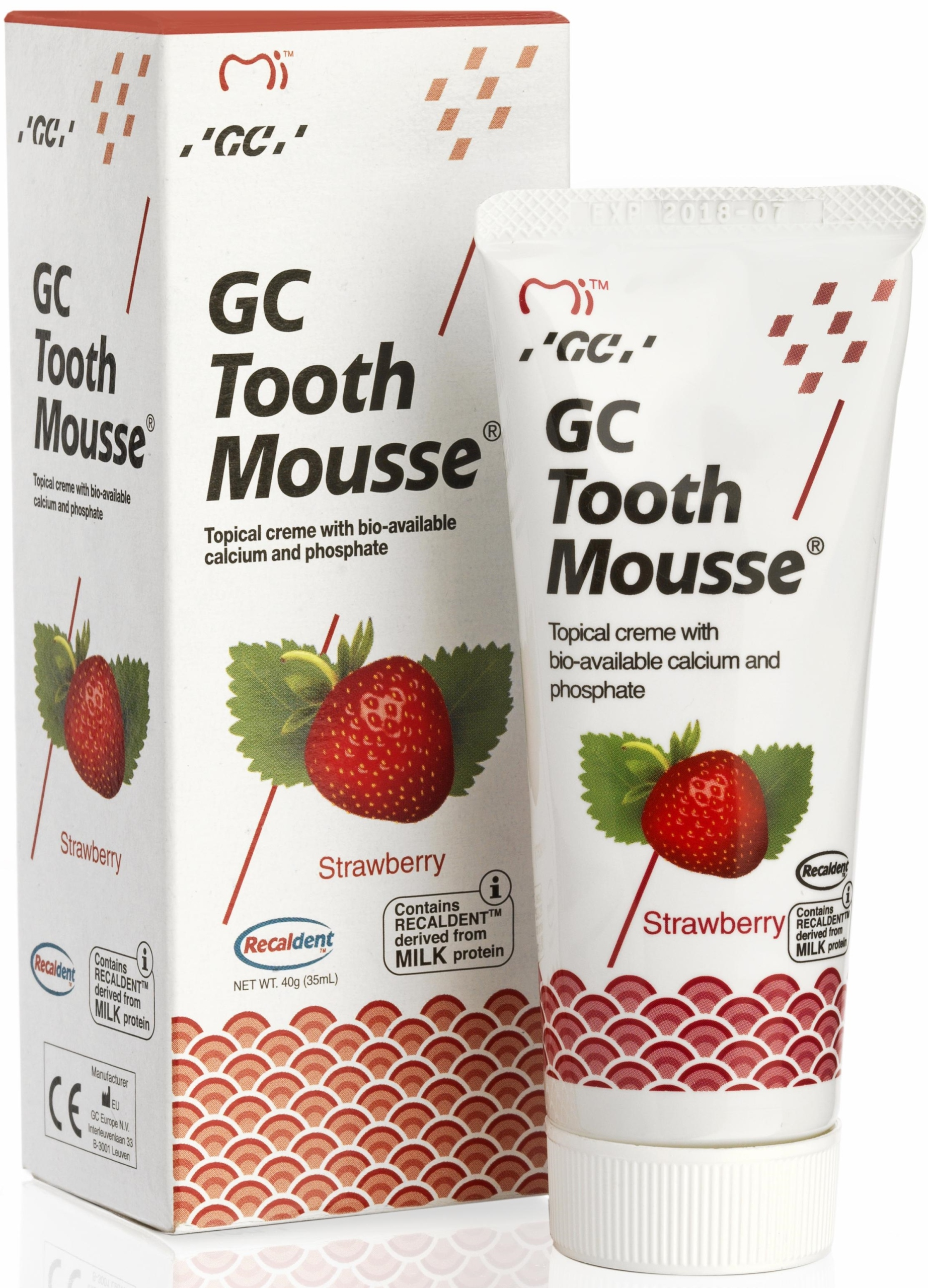 GC TOOTH MOUSSE PASTE 35мл STRAWBERRY WITHOUT FLUORIDE