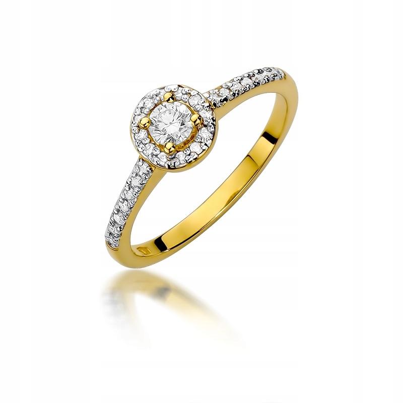 Złoty Pierścionek Zaręczynowy pr585 Brylant Grawer