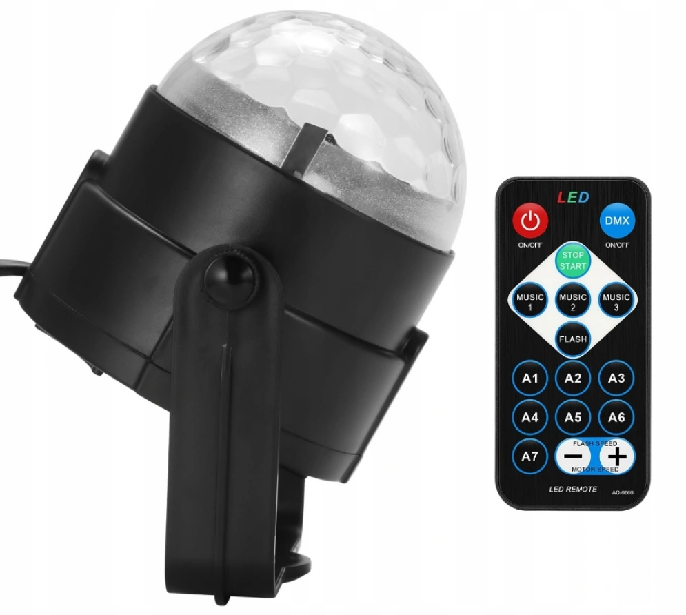 DISCO DISCO BALL PROJECTOR RGB LED HOVEDLYS EAN 5903641901635