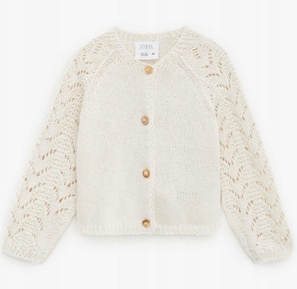 Zara rozpinany sweterek z ażurowymi rękawami 86 92