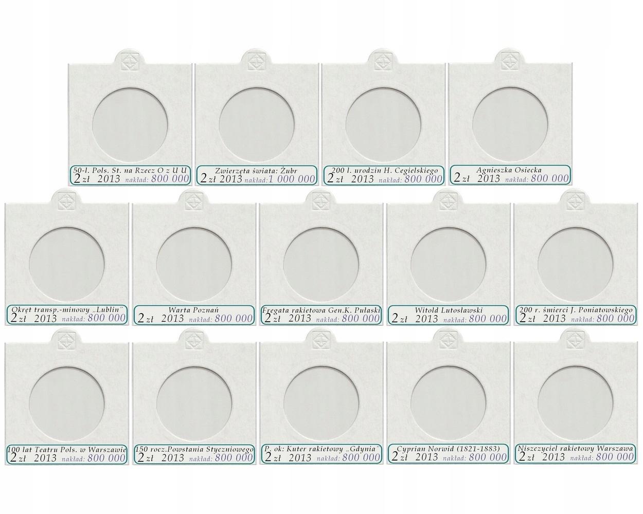 Komplet 14 holderów na monety 2 zł NG 2013 + opisy