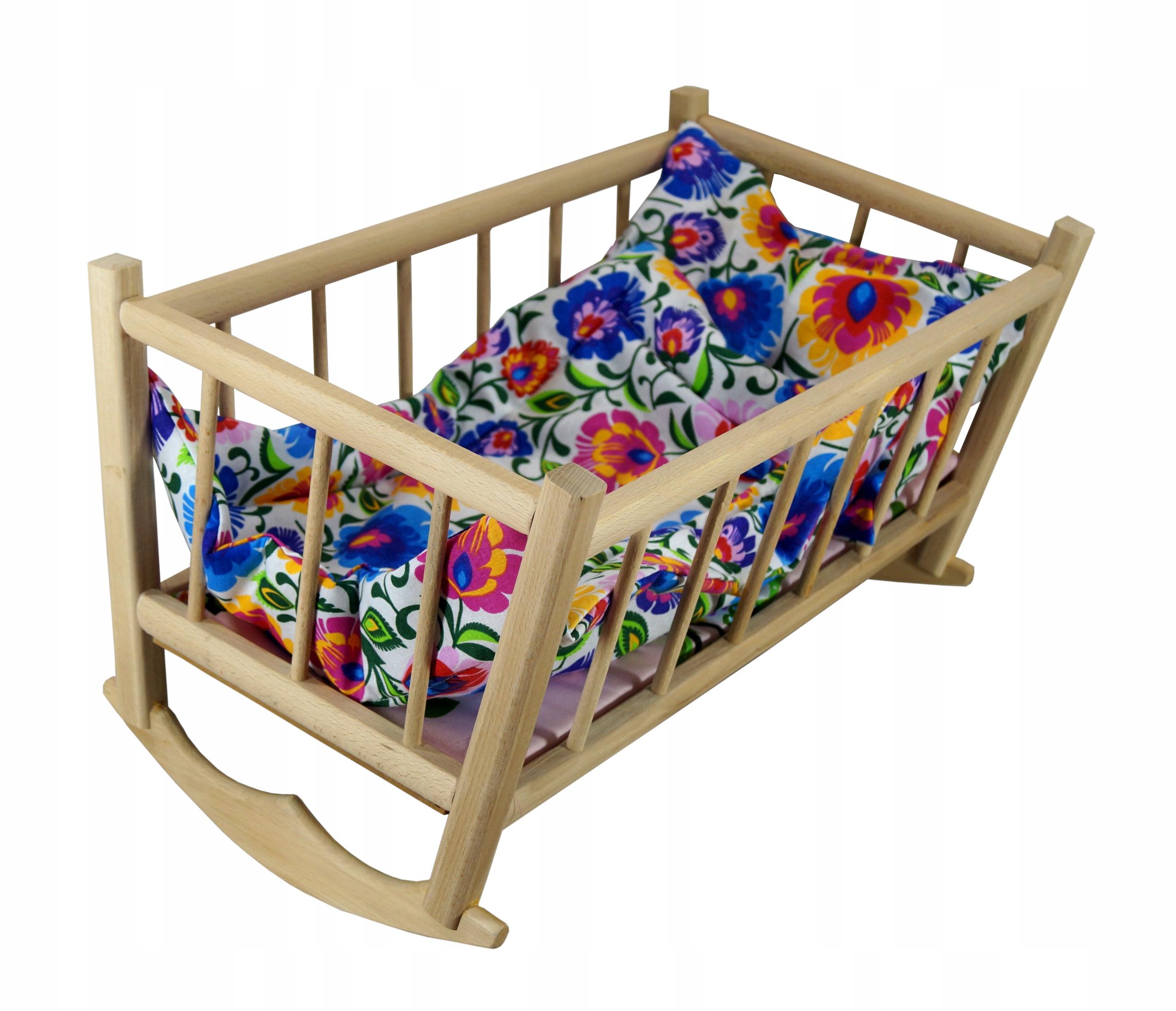 Drevené bábiky RETRO CRADLE z posteľnej bielizne Łowicz