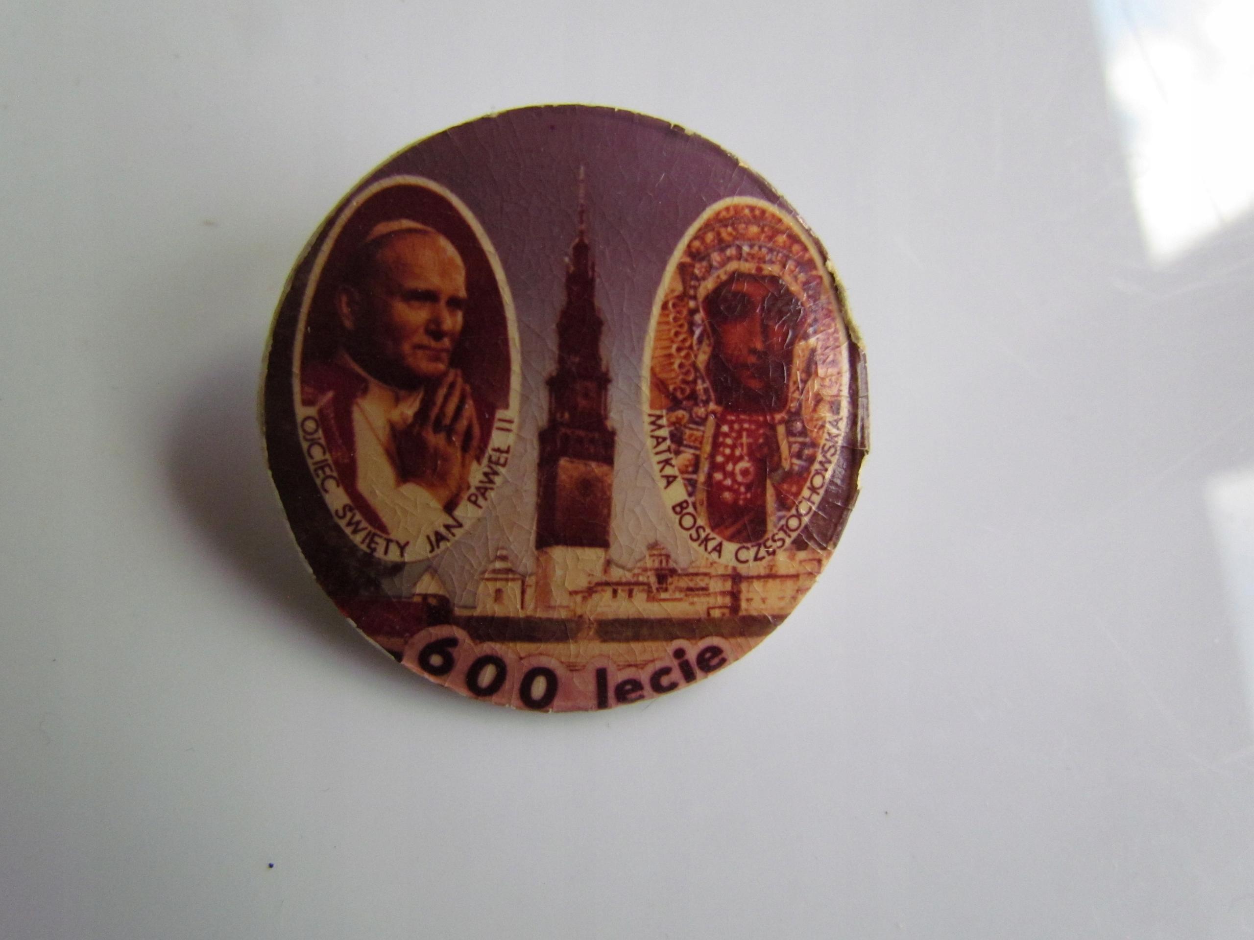 Przypinka Jan Paweł II 600 lecie Matka Boska Częst