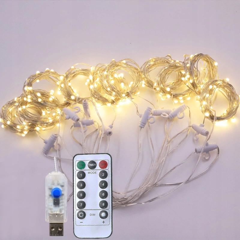 LED záclona USB 3x3 m svetlá na záclonovú tyč vianočné