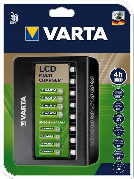 MEGA ŁADOWARKA LCD VARTA na 8 AKUMULATORÓW AA AAA