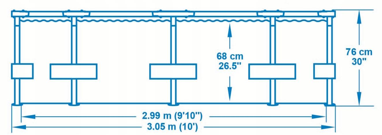 BASEN STELAŻOWY 56408, OGRODOWY 305x76cm + POMPA Rodzaj basen stelażowy