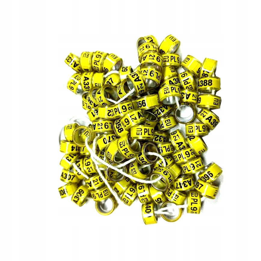 Декоративные кольца для голубей 2021 7мм 10ст жёлтые