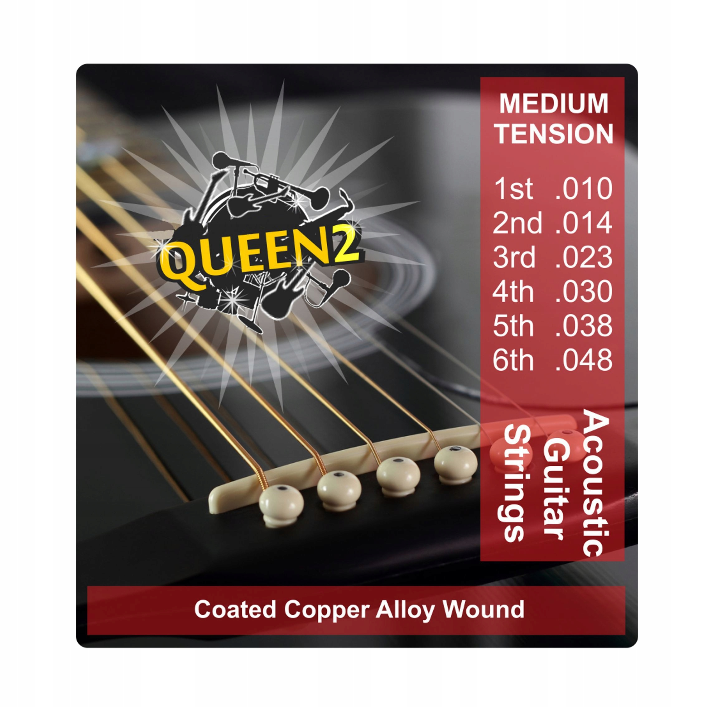 Kráľovná reťazce pre kovové akustické gitary
