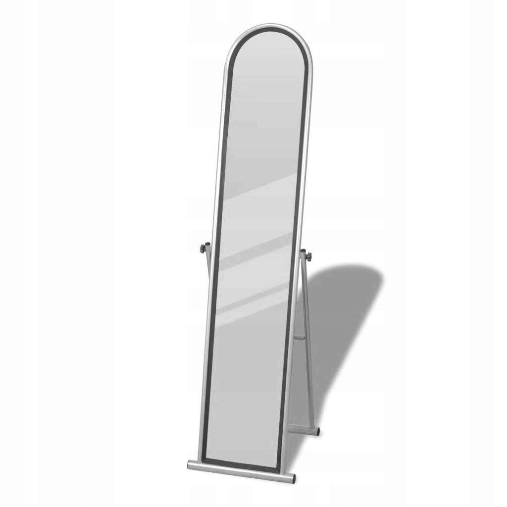 Samostatne stojace podlahové zrkadlo, obdĺžnikové, šedé