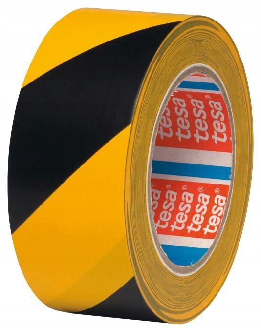 Taśma do znakowania podłóg TESA żółto-czarna 33m