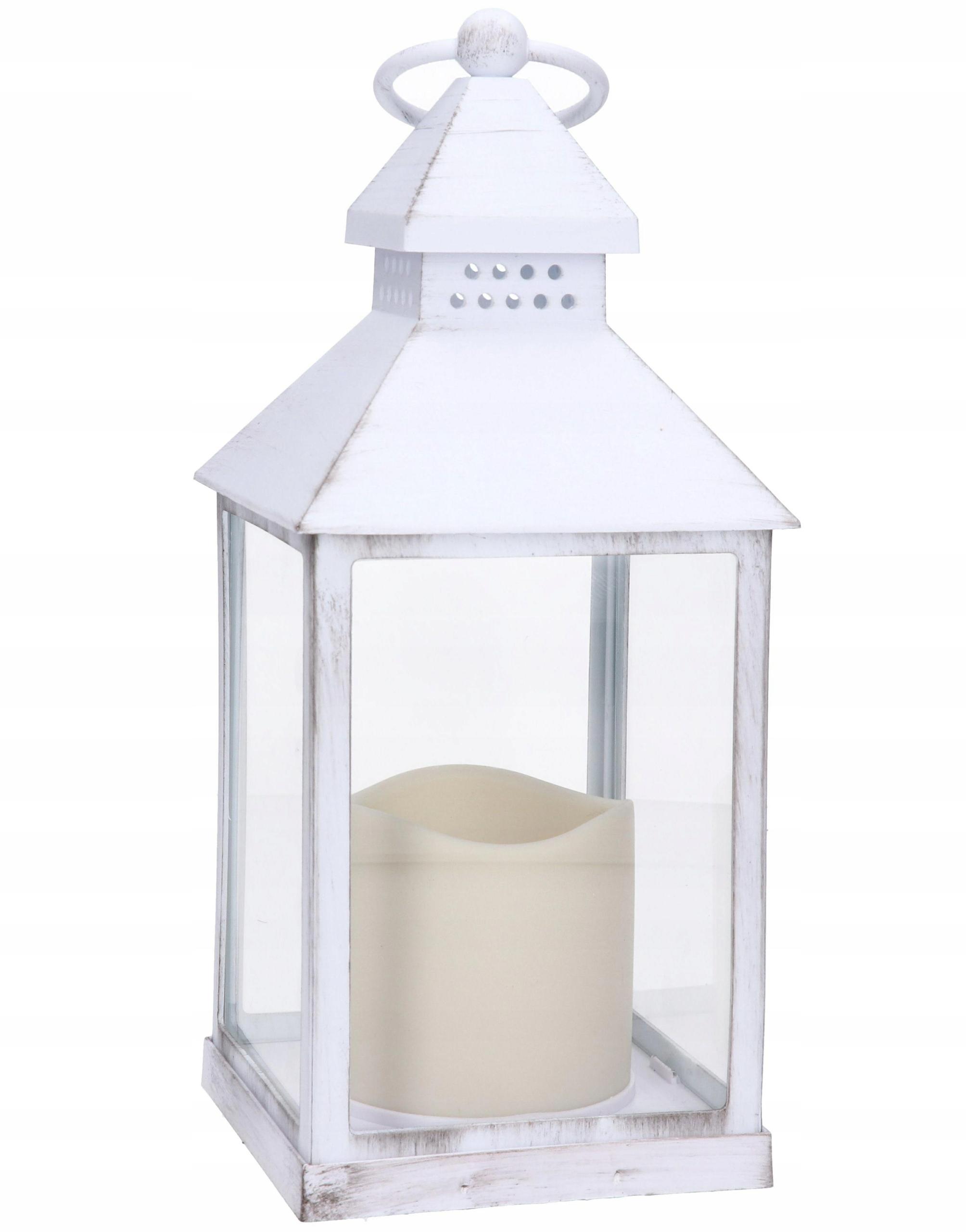 LAMPION LATARNIA BIAŁY NA BATERIE ŚWIECA LED