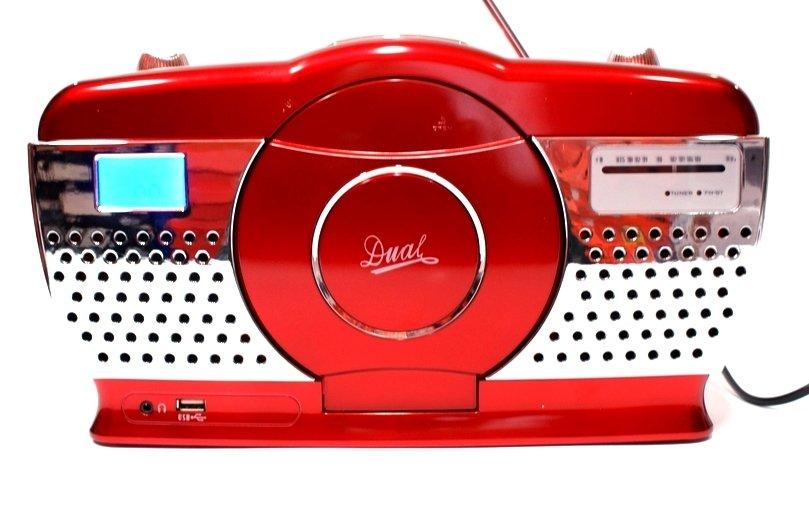 Dual RP100 rádio CD/MP3, USB, červená metalíza