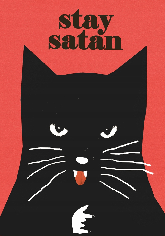 Stay satan czarny kot  plakat