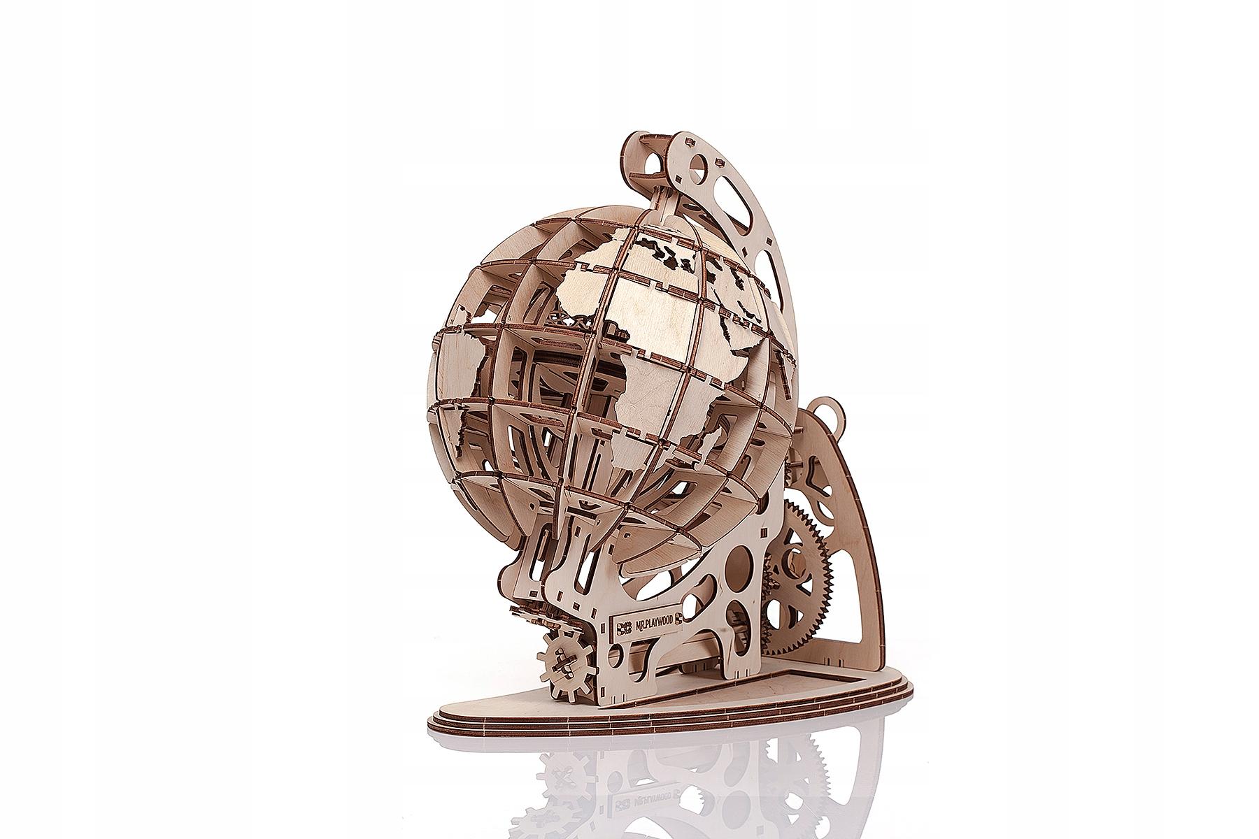 Globus - mechanické, drevené 3D puzzle