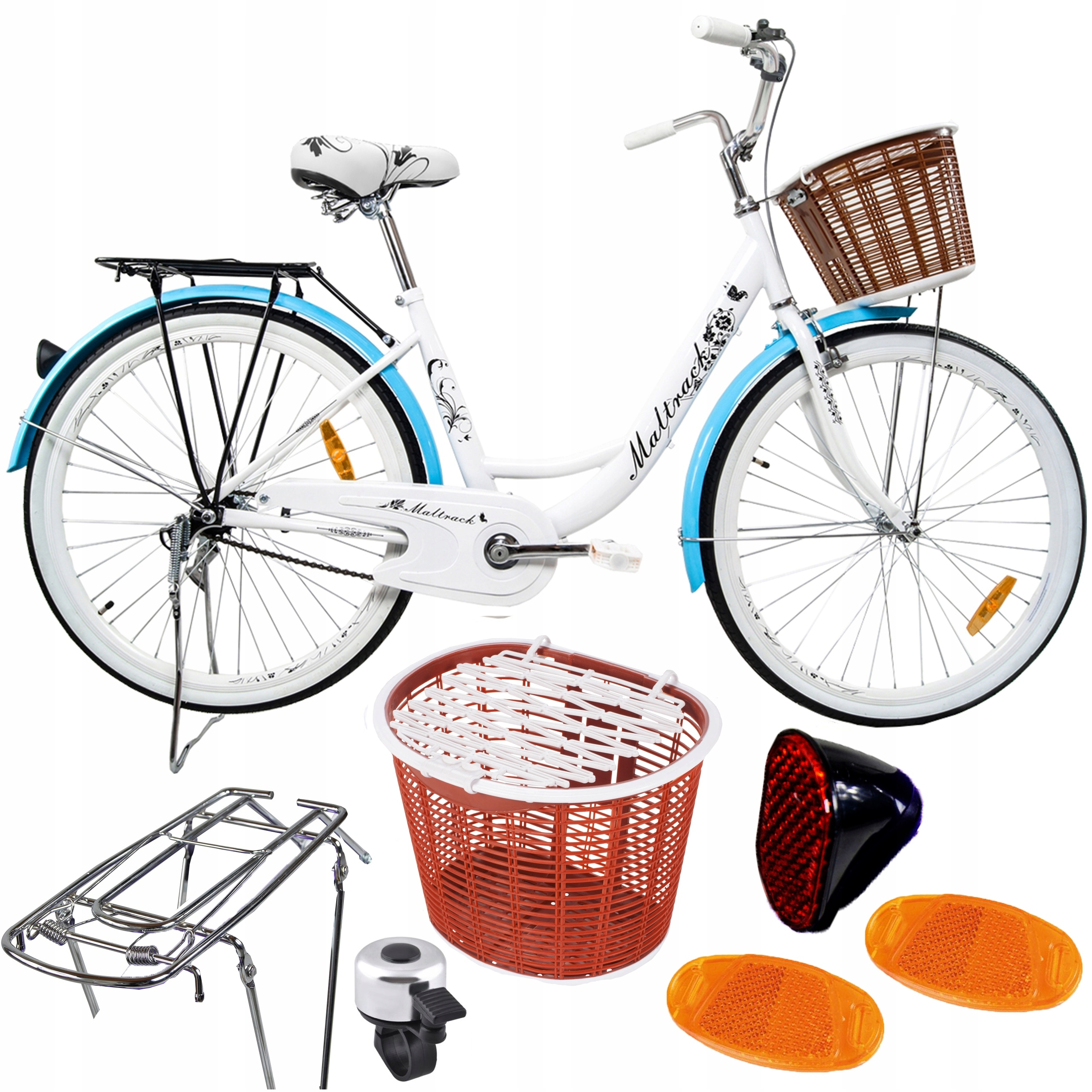 BIKE MIEJSKI 26 '' Citybike BIELY kufrík na koše