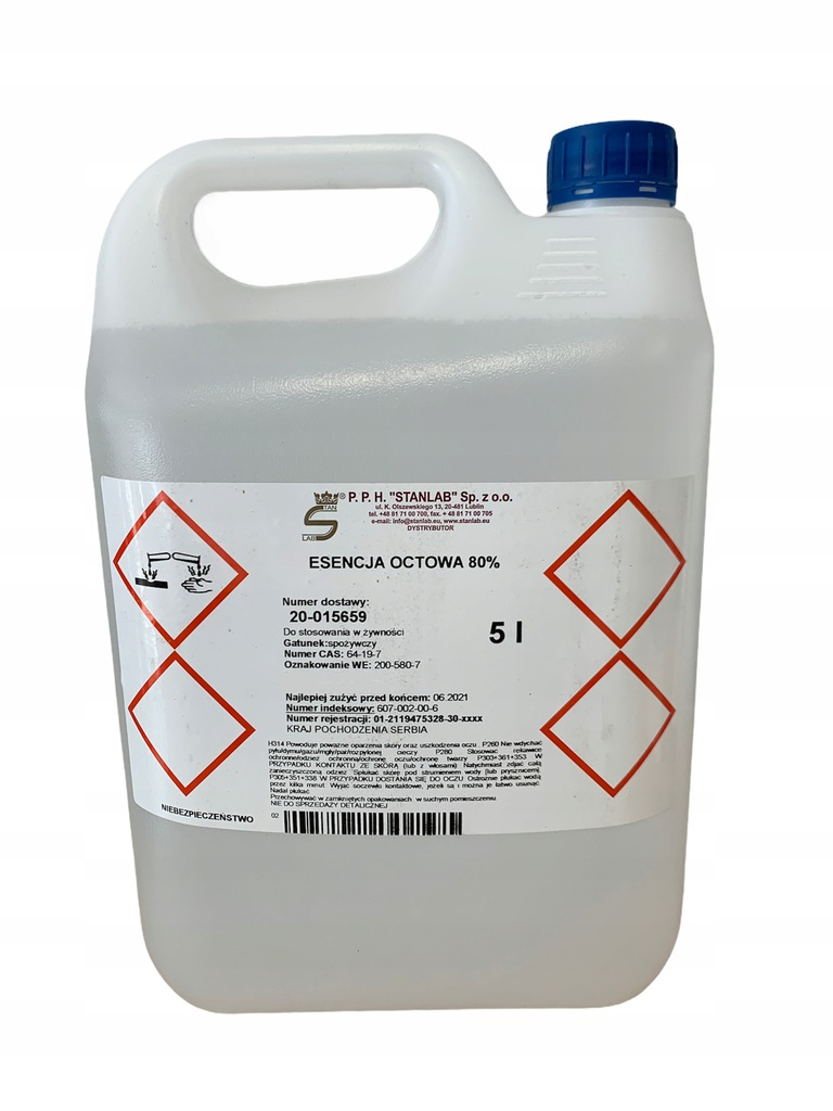 Esencja Octowa 80% Ocet E260 Stanlab 5L