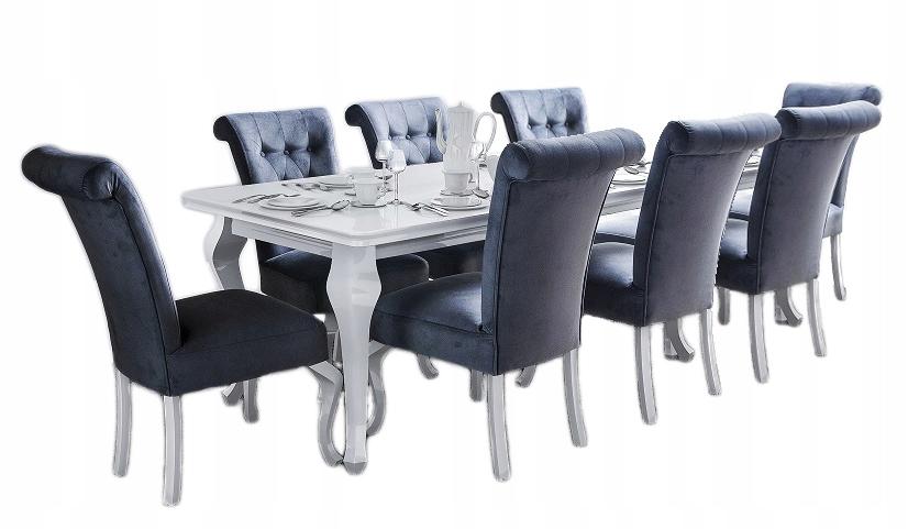 DUŻY Zestaw Stół 3m z 8 krzesłami GLAMOUR połysk