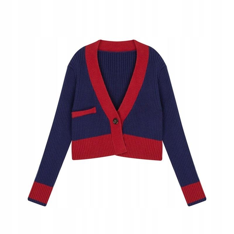 Jarný jesenný kontrastný pletený retro sveter