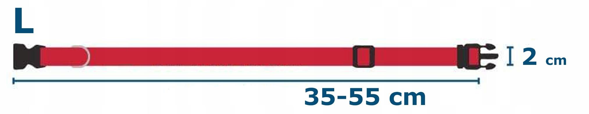 SOLIDNA OBROŻA TAŚMOWA REGULACJA 2x35/55 cm L Kolor czarny odcienie czerwieni