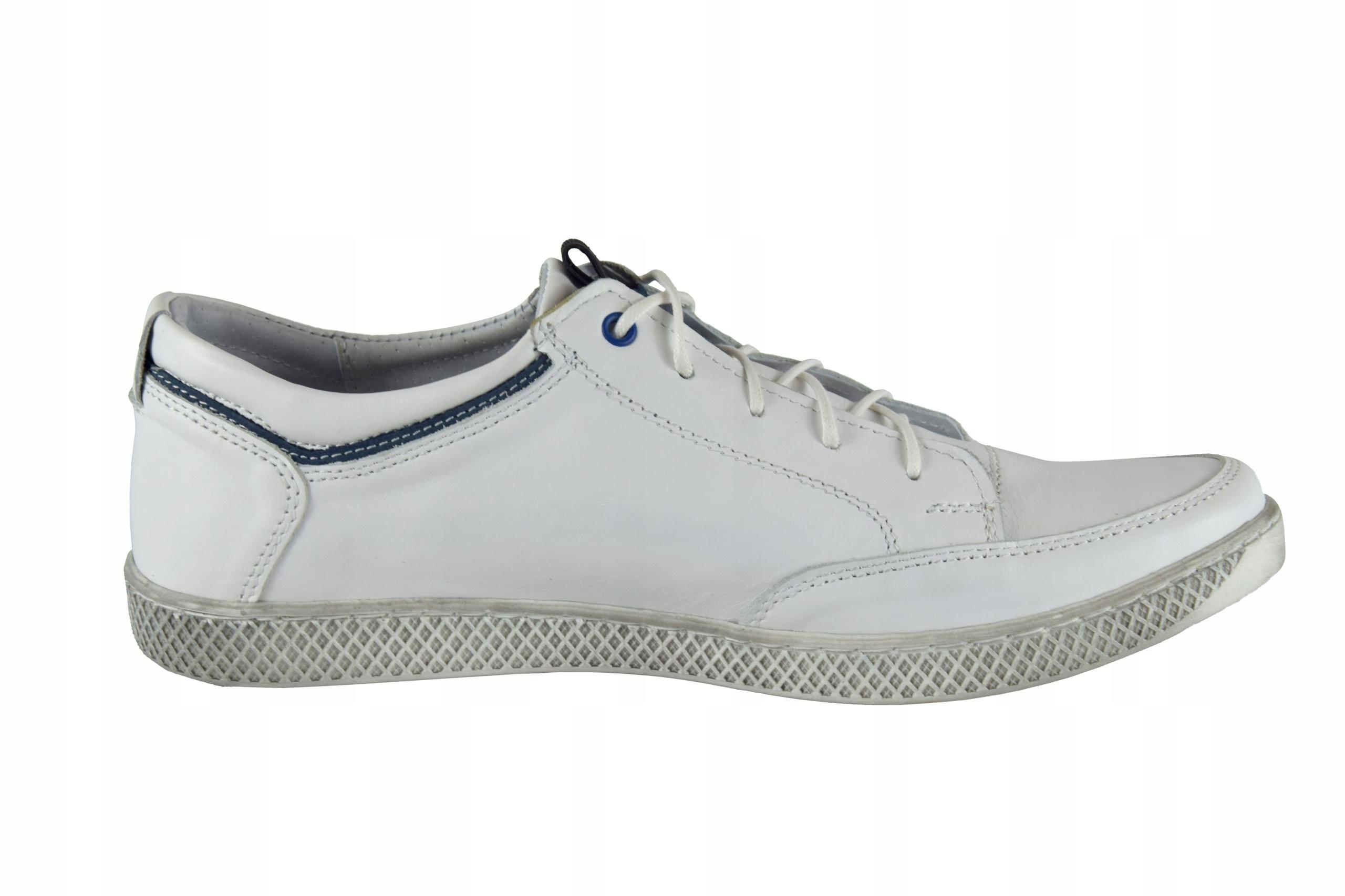 Skórzane męskie białe sznurowane buty męskie 0447 Marka inna